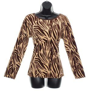 ERIKA Velour Top Stretch Long Sleeve Leopard Print Animal Relaxed Fit Brown Tan